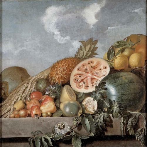 Albert Eckhout (ca. 1610–1666), Fruits, pineapple and melon, etc., 1640–50, oil on canvas, 35 13/16 × 35 13/16 in. Photo: John Lee, National Museum of Denmark, Copenhagen, N.92.