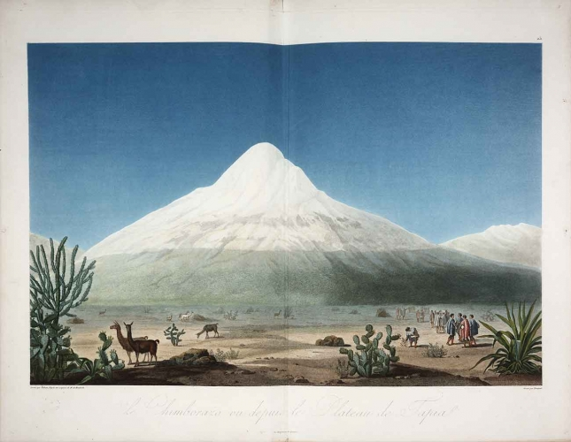Le Chimborazo, vu depuis le plateau de Tapia (Chimborazo Seen from the Tapia Plateau) in Alexander von Humboldt (1769–1859), Vues des cordillères, et monuments des peuples indigènes de l'Amérique, (View of the cordilleras and monuments of the indigenous peoples of the Americas), Paris: F. Schoell, 1810–13, color aquatint, mezzotint, engraving, and etching with watercolor, 20 × 27 in. The Huntington Library, Art Collections and Botanical Gardens.