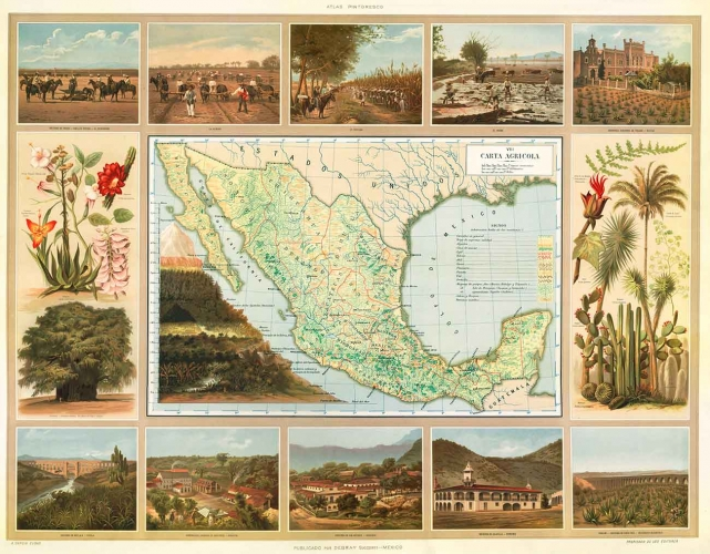 Antonio García Cubas (1832–1912), agricultural map in Atlas pintoresco é historico de los Estados Unidos Mexicanos, (Picturesque and historical atlas of the United States of Mexico), Mexico City: Debray Sucesores, 1885, chromolithograph, 24 13/16 × 30 11/16 in. The Newberry Library, Chicago, Ayer 655.59.G2.