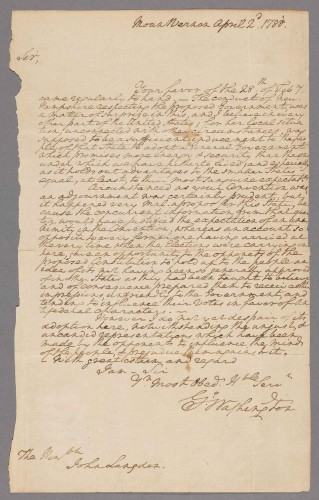 George Washington, letter to John Langdon, April 22, 1788. The Shapiro Collection.