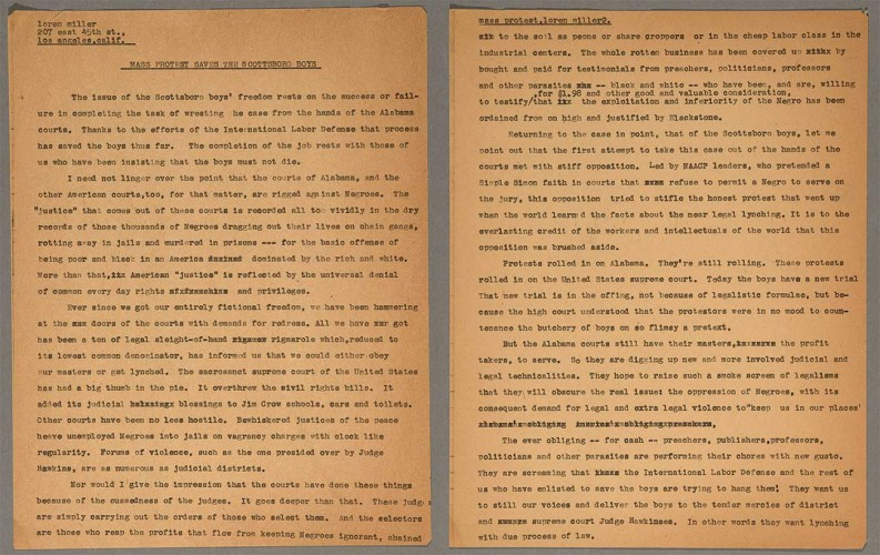 """Loren Miller, """"Mass Protest Saves the Scottsboro Boys,"""" March 16, 1933. First two pages of a three-page draft article written by Miller for the Daily Worker in response to William Patterson's letter of February 14, 1933. The Huntington Library, Art Museum, and Botanical Gardens."""