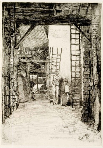 James Abbott McNeill Whistler (American, 1834–1903), The Lime-Burner, 1859, etching with drypoint and plate tone on laid paper. Gift of Russel I. Kully, The Huntington Library, Art Museum, and Botanical Gardens.