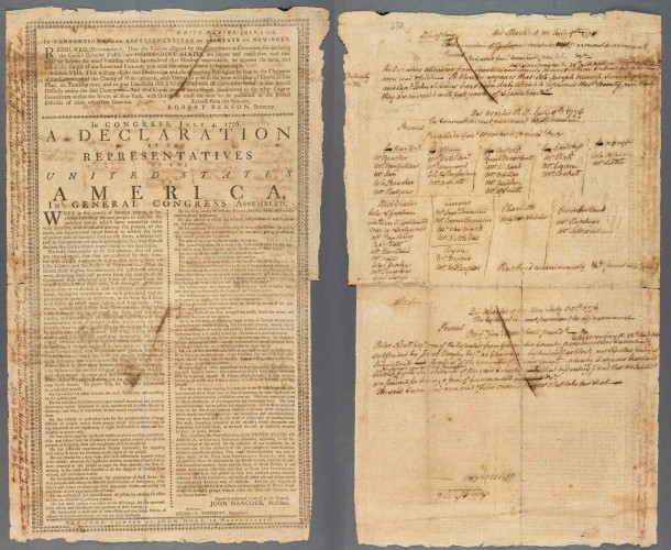 Declaration of Independence, New-York: Printed by John Holt, in Water-Street, 1776, with the manuscript minutes of John McKesson, secretary of New York's Provincial Congress, July 9-30, 1776. RB 81684