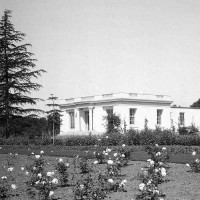 An early view of the Rose Garden and bowling alley