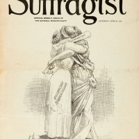 Charles H. Sykes (1882-1942), At Last, in The Suffragist, June 21, 1919. National Woman's Party, Washington, D.C. 13 1/2 x 10 1/4 in. The Huntington Library, Art Collections, and Botanical Gardens.