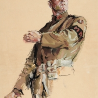 Cyrus Leroy Baldridge (1889–1977), Study of a Soldier, 1919. Gouache and graphite on paper, 19 x 13 3/4 in. © artist or artist's estate. The Huntington Library, Art Collections, and Botanical Gardens, purchased with funds from the Virginia Steele Scott Foundation.