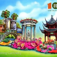 Artist's rendering of The Huntington's 2020 entry in the Rose Parade®,  designed by Phoenix Decorating Company. The float celebrates The Huntington's 100th anniversary  and is part of a yearlong Centennial Celebration running from Sept. 2019 through Sept. 2020.