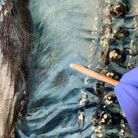 The conservator removed yellowed and cloudy varnish