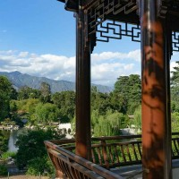 "View from the Stargazing Tower, one of the new pavilions in the expanded section of the Chinese Garden. The Stargazing Tower offers sweeping views of the lake and garden below and of the ""borrowed landscape"" beyond, including the San Gabriel Mountains and Mount Wilson Observatory, which inspired the pavilion's name. Photo by Aric Allen. The Huntington Library, Art Museum, and Botanical Gardens."