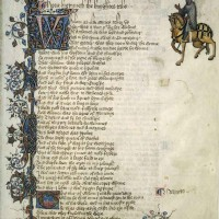 """The Ellesmere Manuscript of Geoffrey Chaucer's The Canterbury Tales, circa 1410. Shown is the introduction to """"The Knight's Tale."""" The Huntington Library, Art Museum, and Botanical Gardens."""