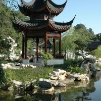 The Huntington's Chinese garden, named the Garden of Flowing Fragrance, Liu Fang Yuan, features a complex of tile-roofed pavilions situated around a large lake and showcases many plants native to China. Pictured: The Pavilion of the Three Friends. The Huntington Library, Art Museum, and Botanical Gardens.