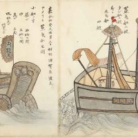 Detail from a scroll depicting U.S. Commodore Matthew C. Perry's first expedition to Japan, ink (brush and wash) in red, blue, black, and brown, on paper recently backed. Japan, after 1853. The Huntington Library, Art Museum, and Botanical Gardens.