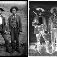 Left: Unknown photographer, Two Chinese men in Western suits, Old Chinatown, Los Angeles, ca. 1900. Right: The glass plate negative of the same image. The Huntington Library, Art Museum, and Botanical Gardens.