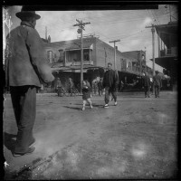 Unknown photographer, View at the intersection of Alameda Street and Marchessault Street in Old Chinatown, Los Angeles, ca. 1900. The Huntington Library, Art Museum, and Botanical Gardens.