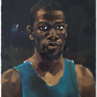 Lynette Yiadom-Boakye, Greenhouse Fantasies, 2014, oil on canvas, 28 x 24 in. © Lynette Yiadom-Boakye, Courtesy of the artist, Jack Shainman Gallery, New York, and Corvi-Mora, London.