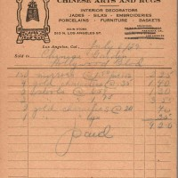 F. See On Co. receipt. 1929. (F. See On was formed after the divorce of Fong See and Letticie Pruett.) The Huntington Library, Art Museum, and Botanical Gardens.
