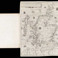 The first printed sea chart and navigational guide for Scotland. Nicolas de Nicolay, Seigneur d'Arfeuille [and Alexander Lindsay], La Navigation du Roy d'Escosse (The Navigation of the Scottish King), Paris: Gilles Beys, 1583. The Huntington Library, Art Museum, and Botanical Gardens.