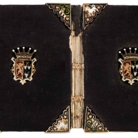 Crypto-Catholic Shrewsbury miniature prayer book (c. 1590) manuscript in ink on parchment, 26 leaves, bound in black silk velvet and gold champlevé decorative embellishment. The cover measures 4 x 2 in. The Huntington Library, Art Collections, and Botanical Gardens.