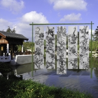 """Digital mockup of the installation """"Tang Qingnian: An Offering to Roots."""" The Huntington Library, Art Collections, and Botanical Gardens"""