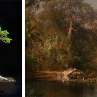 Left: California juniper bonsai (Juniperus californica), styled from plant material approximately 500 years. Photo by Andrew Mitchell. Right: Frederic Edwin Church, Chimborazo, 1864 (detail). The Huntington Library, Art Museum, and Botanical Gardens