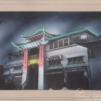 Electrical Products Corp. (artist unknown), Neon lighting concept for New Chinatown, ca. 1936. © Courtesy of Federal Heath Sign Co., LLC. The Huntington Library, Art Museum, and Botanical Gardens