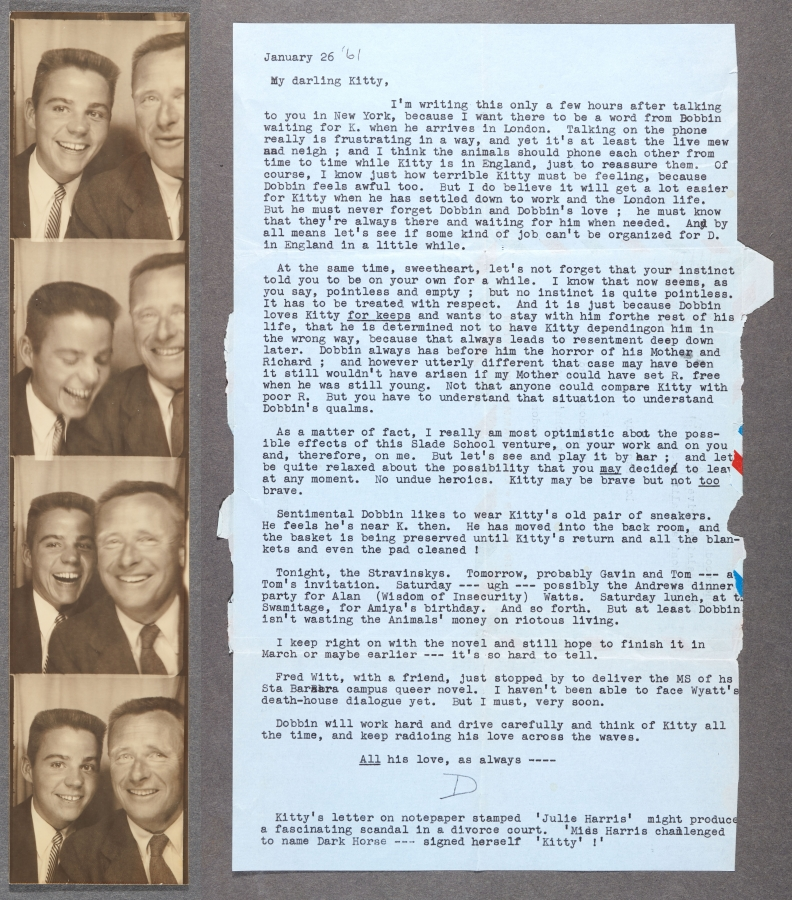 Photobooth pictures of Don Bachardy and Christopher Isherwood, 1953 and letter to Don Bachardy