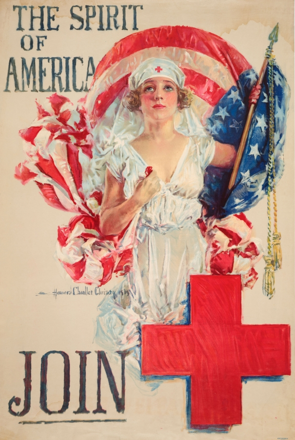 Howard Chandler Christy (1873–1952), The Spirit of America—Join, 1919. Lithograph, Boston: Forbes for the American Red Cross, 40 x 25 3/4 in. The Huntington Library, Art Collections, and Botanical Gardens.