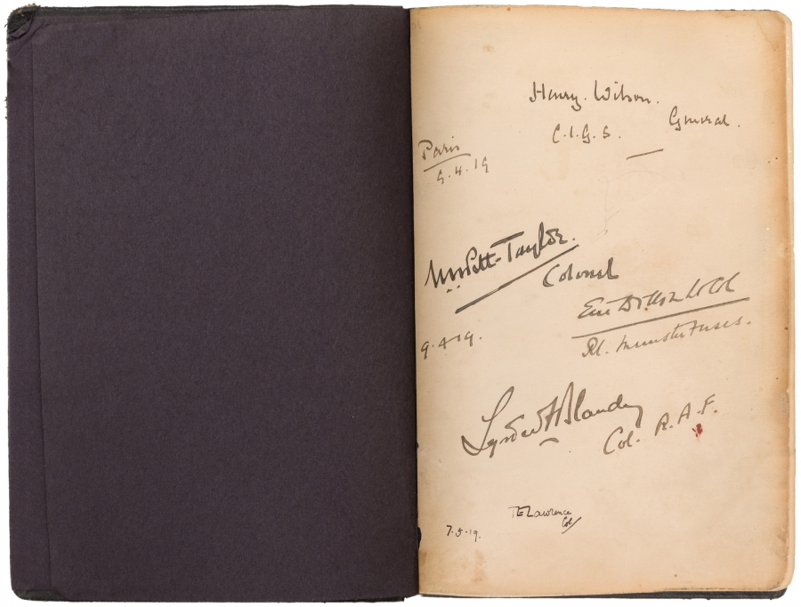 T. E. (Thomas Edward) Lawrence (1888–1935), Autograph book from Paris Peace Conference, 1919. The Huntington Library, Art Collections, and Botanical Gardens.