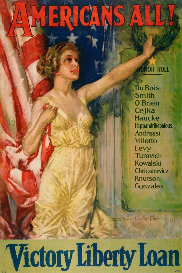 Howard Chandler Christy (1873–1952), Americans All! Victory Liberty Loan, 1919. Lithograph, Boston: Forbes, 29 15/16 x 19 7/8 in. The Huntington Library, Art Collections, and Botanical Gardens.