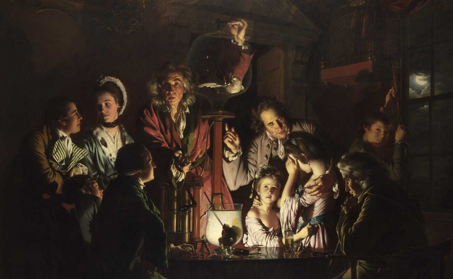 Joseph Wright of Derby, An Experiment on a Bird in the Air Pump, 1768. Oil on canvas, 72 x 96 1/16 in. National Gallery, London.