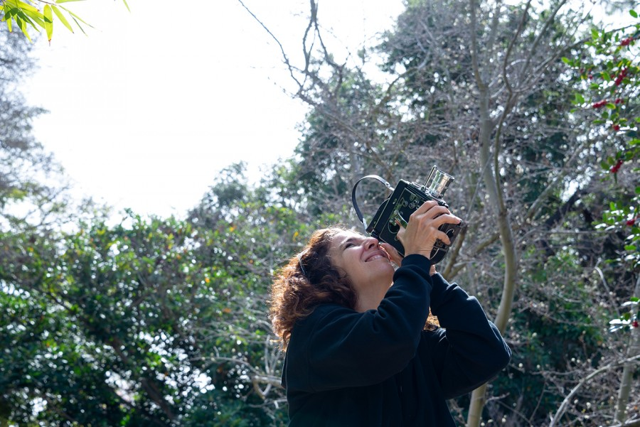 Beatriz Santiago Muñoz filming at The Huntington.  Photo: Kate Lain. The Huntington Library, Art Museum, and Botanical Gardens.