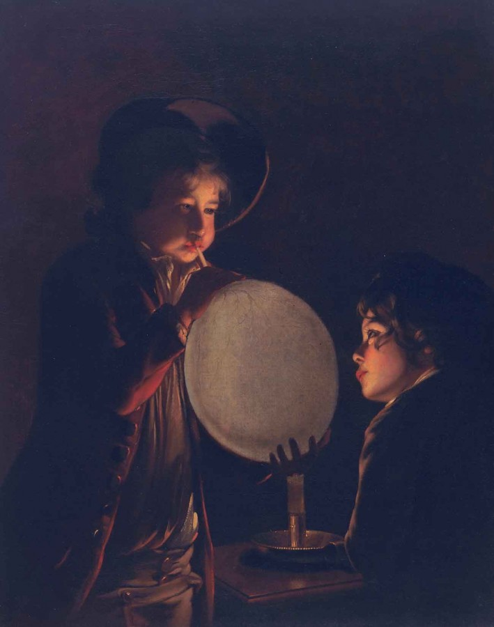 Joseph Wright of Derby (1732-1797), Two Boys by Candlelight, Blowing a Bladder, ca. 1767-1773. Oil on canvas, 36 x 28 3/8 in. The Huntington Library, Art Museum, and Botanical Gardens.