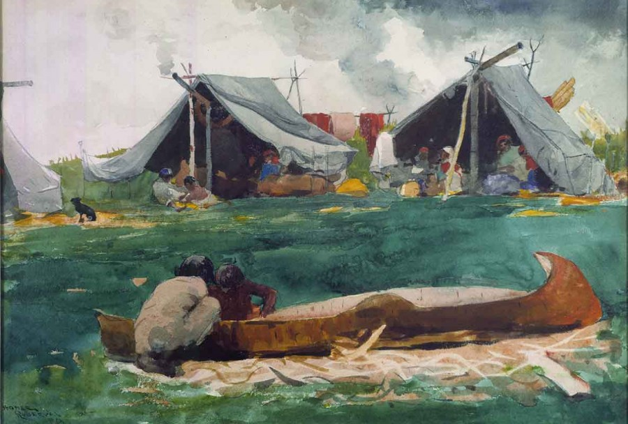Indians Making Canoes (Montagnais Indians) by Winslow Homer
