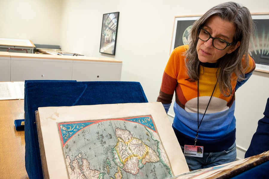 Nina Katchadourian conducting research at The Huntington. Photo: Kate Lain. The Huntington Library, Art Museum, and Botanical Gardens.