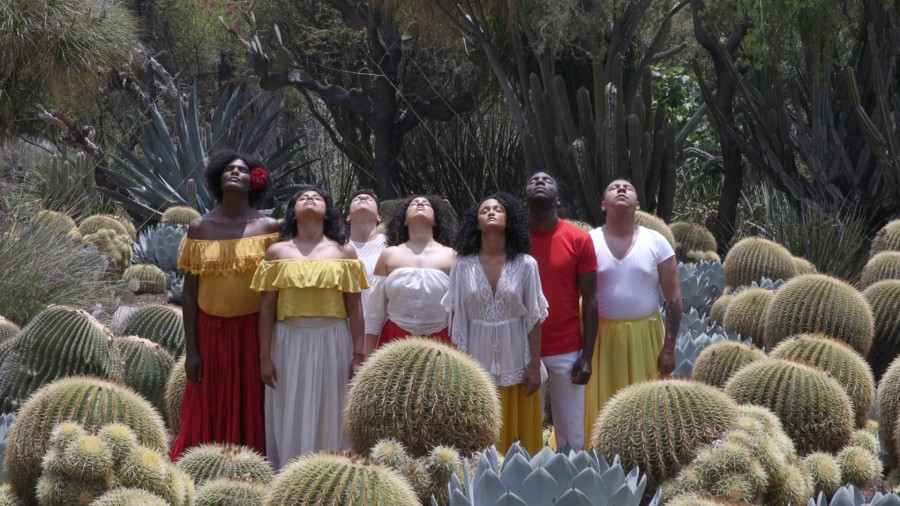 Video still depicting dancers in the Desert Garden at The Huntington for Apariciones/Apparitions, a video work by Carolina Caycedo. Choreography by Marina Magalhães; cinematography by David de Rozas. Jointly owned by The Huntington Library, Art Collections, and Botanical Gardens and the Vincent Price Art Museum Foundation. Image courtesy of the artist.