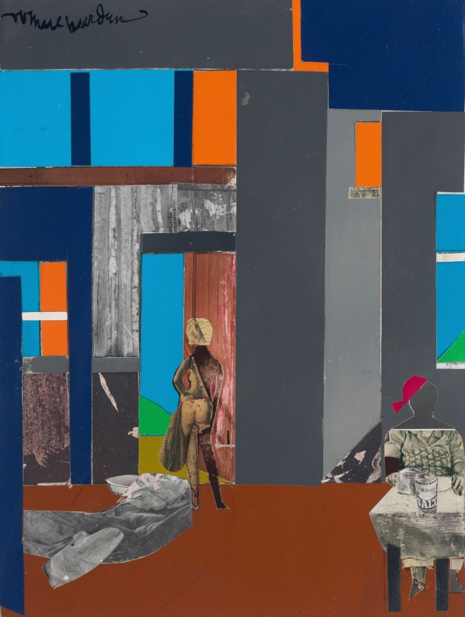 Romare Bearden (1911-1988), Blue Monday, 1969. Paper on fiberboard mounted to board, 12 x 9 in. © 2019 Romare Bearden Foundation / Licensed by VAGA at Artists Rights Society (ARS), NY. The Huntington Library, Art Collections, and Botanical Gardens.