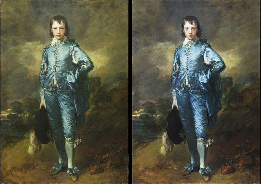 Side-by-side comparison of Thomas Gainsborough's The Blue Boy. Pre-conservation (left), post-conservation (right). Photo: Christina Milton O'Connell. The Huntington Library, Art Museum, and Botanical Gardens.