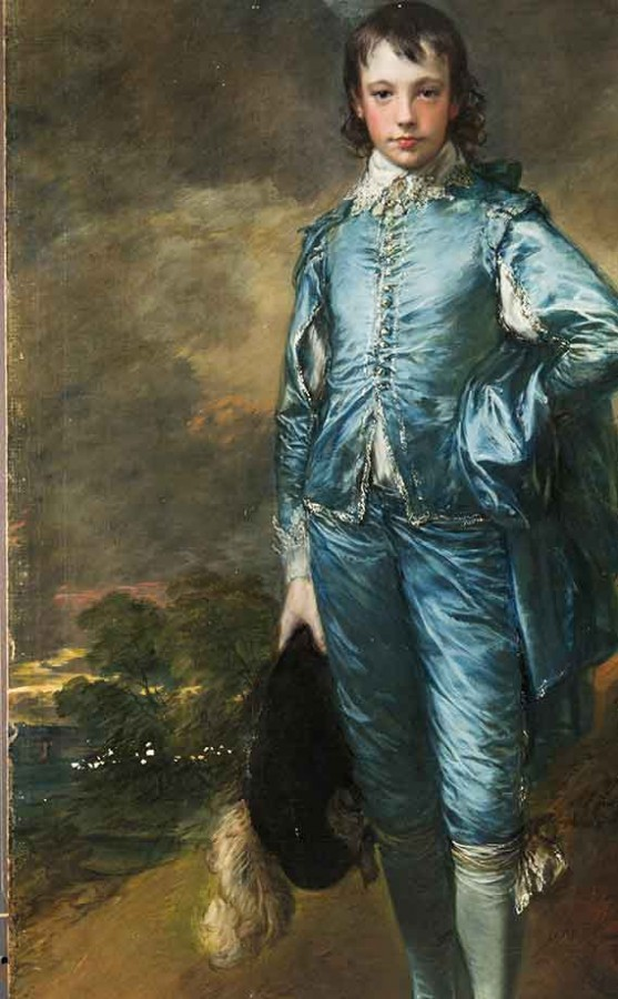 Detail view of The Blue Boy shown with visible damages. The Huntington Library, Art Museum, and Botanical Gardens.