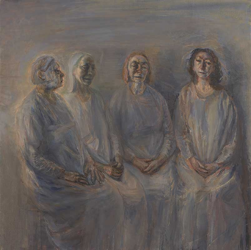 Celia Paul, My Sisters in Mourning, 2015–16. Oil on canvas, 58 1/8 x 58 1/4 x 1 3/8 in. © Celia Paul. Courtesy of the artist and Victoria Miro, London / Venice