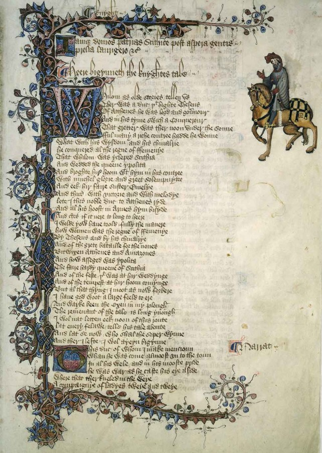 "The Ellesmere Manuscript of Geoffrey Chaucer's The Canterbury Tales, circa 1410. Shown is the introduction to ""The Knight's Tale."" The Huntington Library, Art Museum, and Botanical Gardens."