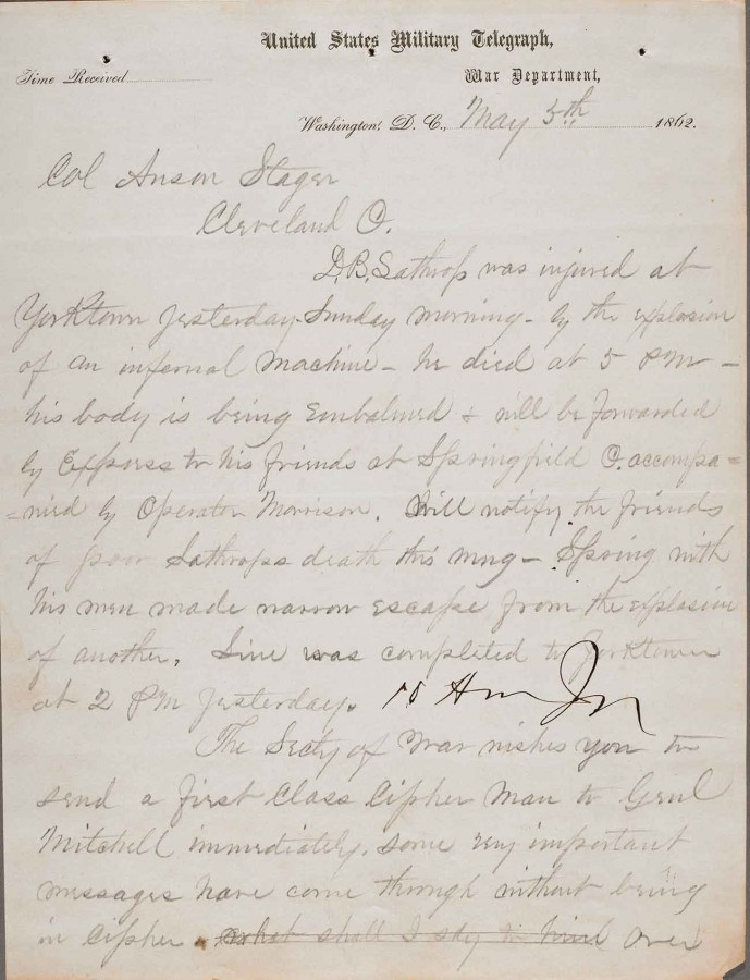 Letter dated May 5, 1862, from Thomas Eckert to Anson Stager, superintendent of the United States Military Telegraph