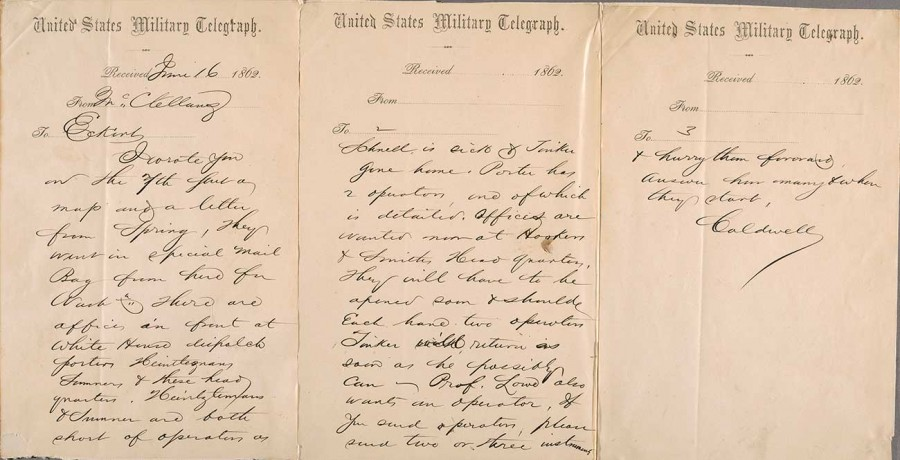 Telegram dated June 16, 1862, from cipher operator A. H. Caldwell to Thomas Eckert