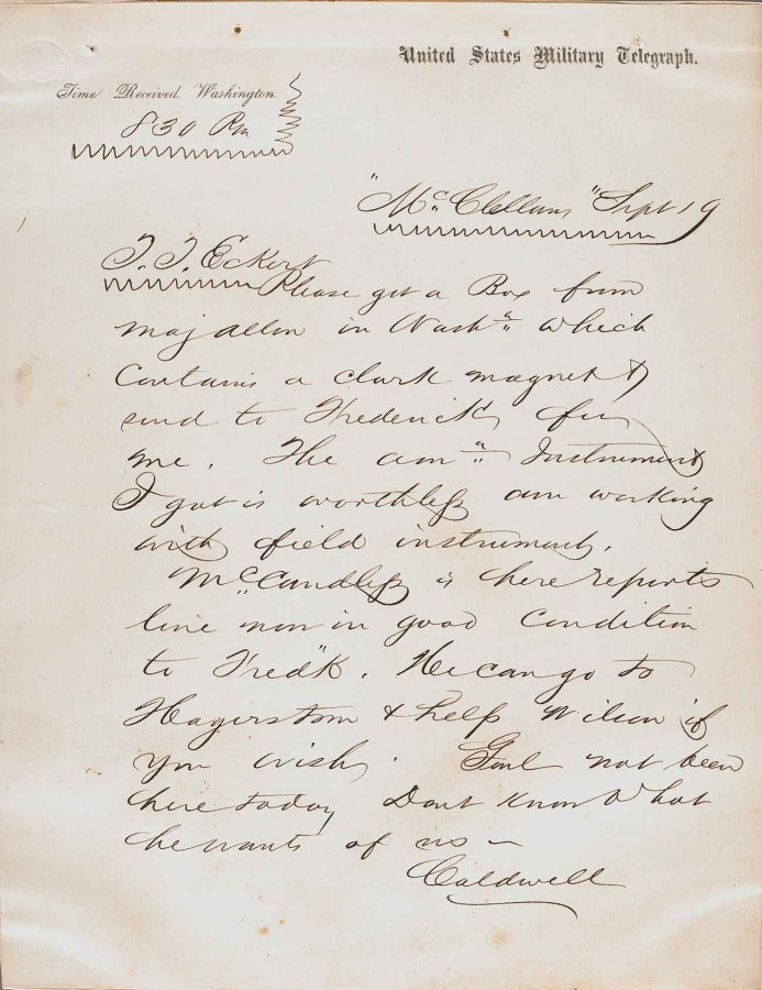 Telegram dated Sept. 19, 1862, from cipher operator A. H. Caldwell to Thomas T. Eckert.