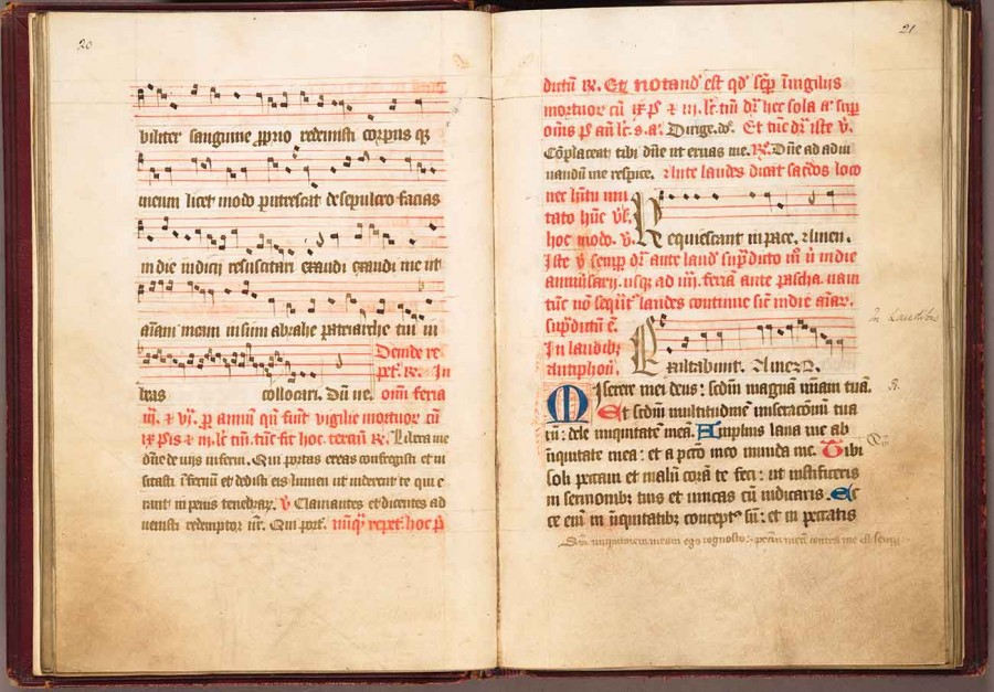 Sarum Manual (England), 120 pages, in Latin, first half of 15th century. The illuminated manuscript includes 63 passages of Gregorian chant in musical notation. Huntington Library, Art Collections, and Botanical Gardens.