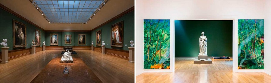 """Left: Installation view of The Blue Boy in The Huntington Art Gallery. Photo: John Sullivan. The Huntington Library, Art Museum, and Botanical Gardens. Right: """"Made in L.A. 2020: a version"""". Installation view at The Huntington Library, Art Museum, and Botanical Gardens, San Marino. Photo: Joshua White / JWPictures.com, courtesy of François Ghebaly, Los Angeles."""