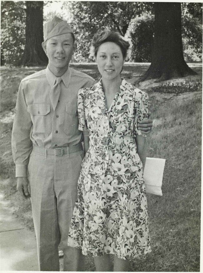 Gilbert Leong and Florence Leong, ca. 1943. Unknown photographer. The Huntington Library, Art Museum, and Botanical Gardens