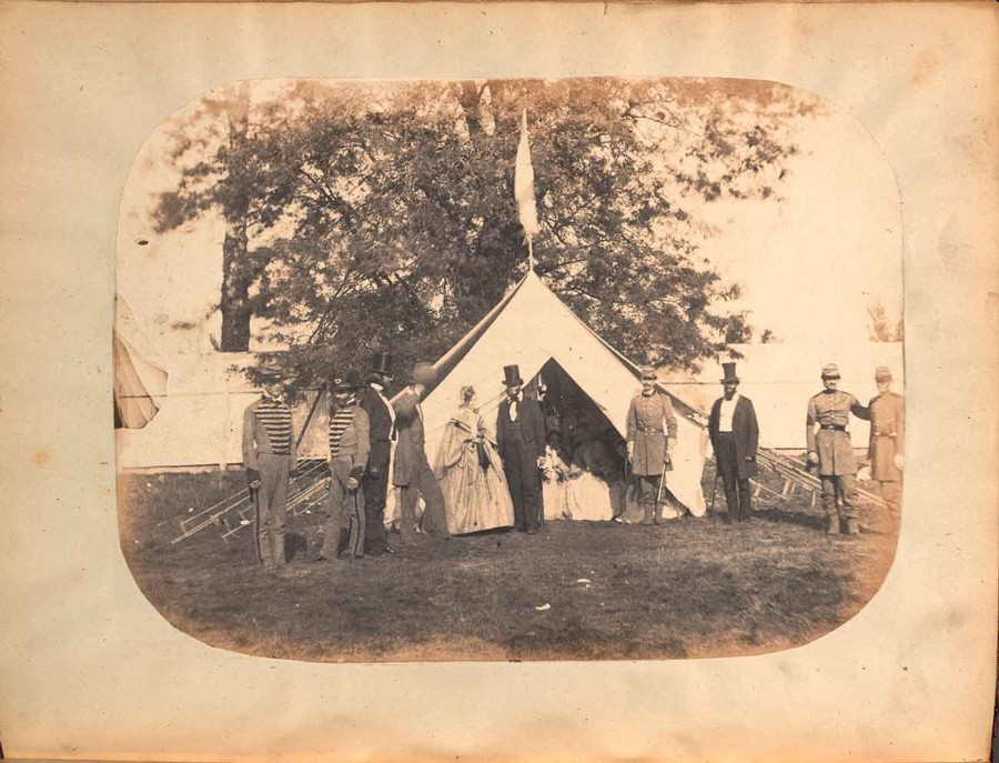 A salt paper print in Sketches of Camp Boone. The First Encampment of the Kentucky State Guard. Garrett & Nickerson, photographers. Louisville, Kentucky: Published by G.T. Shaw, 1860. The Huntington Library, Art Museum, and Botanical Gardens.