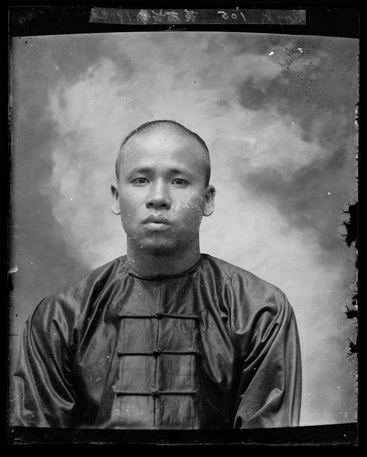Unknown photographer, photographic portrait of Chinese American man, Old Chinatown, Los Angeles, 1902. The Huntington Library, Art Museum, and Botanical Gardens.