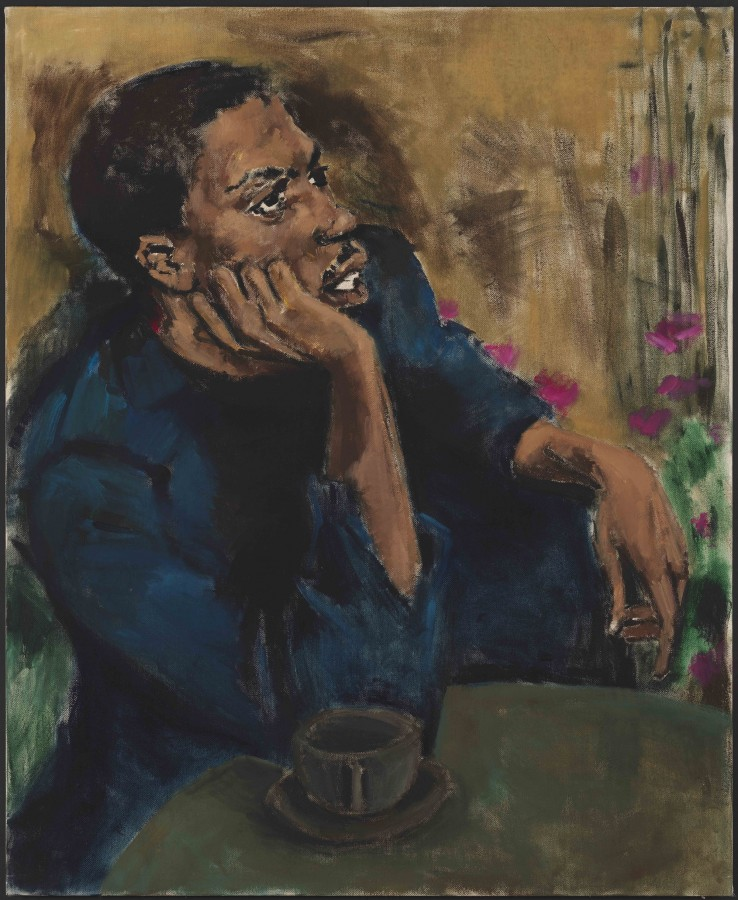 Lynette Yiadom-Boakye, Brothers To A Garden, 2017. Oil on linen, 59 x 48 in. © Lynette Yiadom-Boakye. Courtesy of the artist, Jack Shainman Gallery, New York and Corvi-Mora, London.