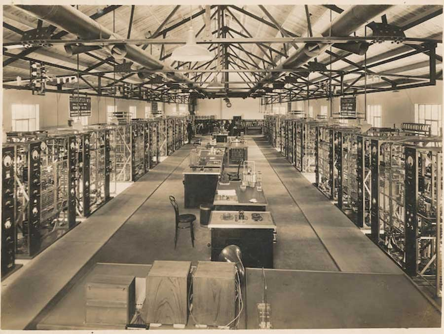 Marconi's Short-Wave Beam-1 transmitters in the transmitter hall of Dorchester Station, England, 1928. The Huntington Library, Art Museum, and Botanical Gardens.